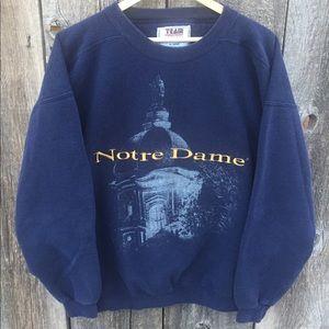 VTG Embroidered Notre Dame Crewneck Sweatshirt XL